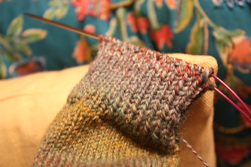 sock on needles