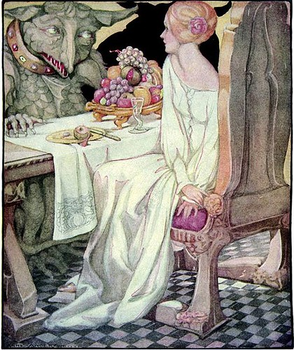 Beauty Dines With The Beast by Anne Anderson (1874-1930)