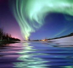 Aurora Borealis, the colored lights seen in th...