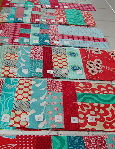 Quilt blocks ready to be sashed