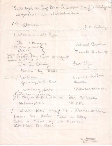 Suzanne Camino Reading List 1991