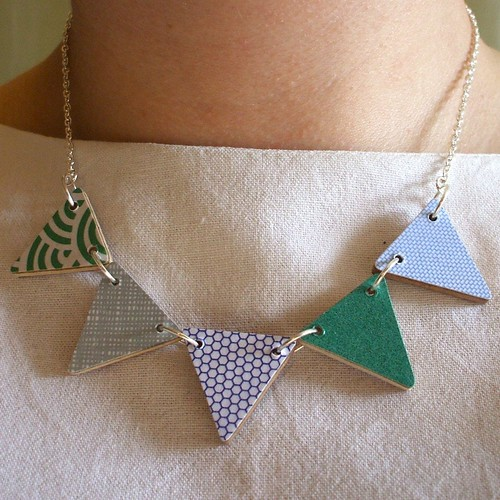 Green & Blue Bunting Necklace