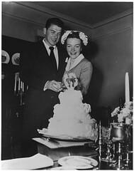 Photograph of Newlyweds Ronald Reagan and Nanc...