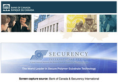 Bank of Canada's new polymer banknote uses Securency International polymer substrate