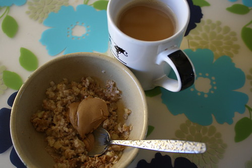 oatmeal with peanut butter, coffee