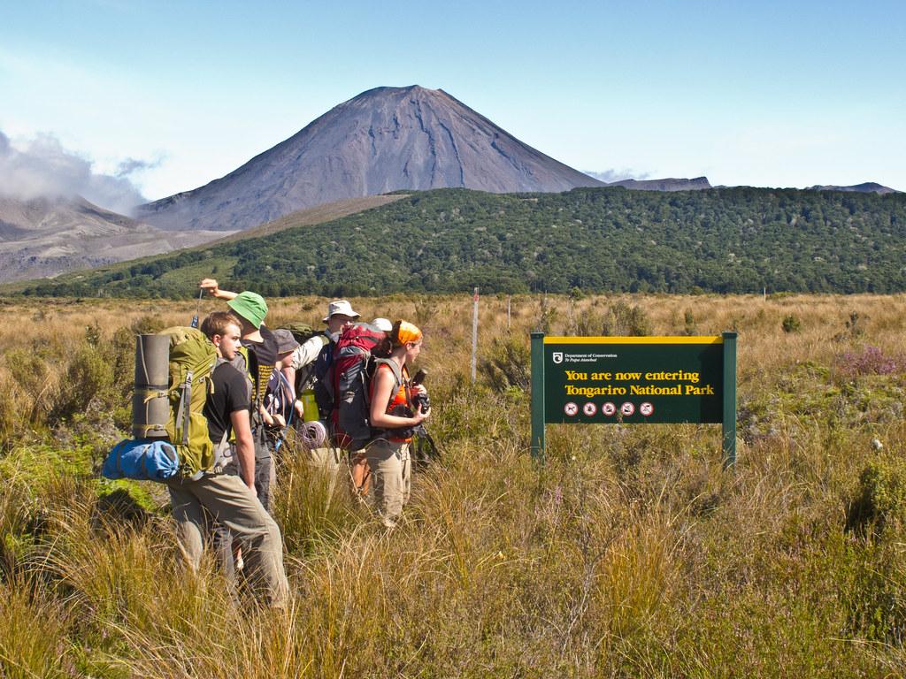 Entering Tongariro National Park - Mount Ngauruhoe in the background