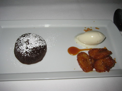 chocolate fondant with rum ice cream, caramelized bananas