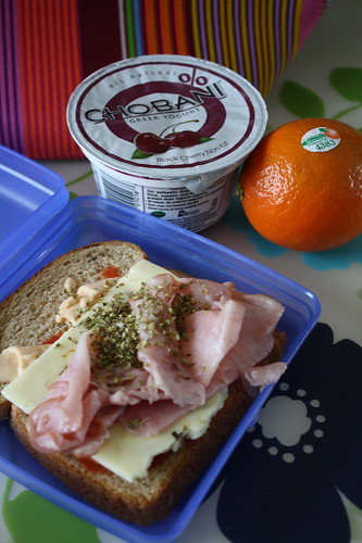 ham sandwich, black cherry chobani, tangelo