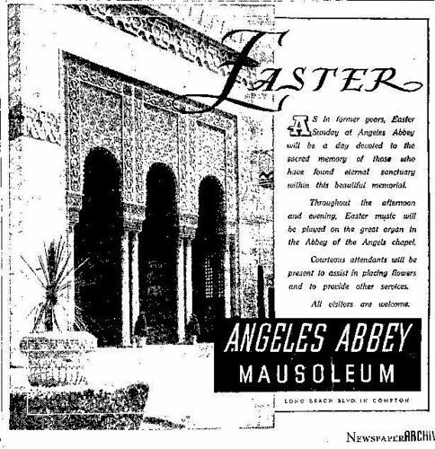 Angeles Abbey Easter ad, 1941
