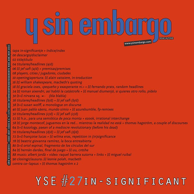 Y SIN EMBARGO magazine #27, in-significant (new!, free, independent)