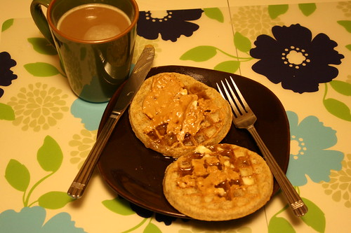 coffee, eggo whole wheat waffles, peanut butter