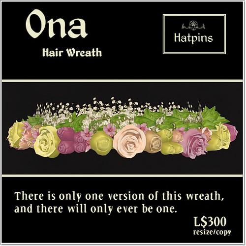 Hatpins - Ona  Wreath - Sixty Linden Weekend