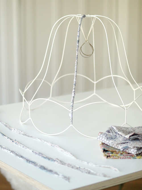 DIY Fabric Wrapped Vintage Lampshade