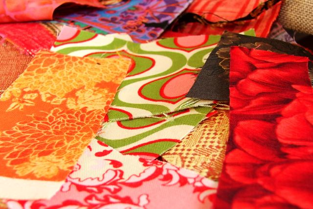 fabric scraps, ironed and cut