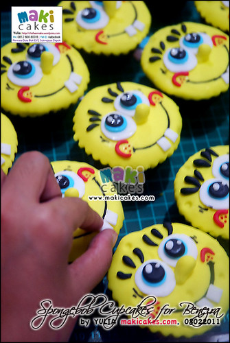 Spongebob Cupcakes for Benezra _how2 - Maki Cakes