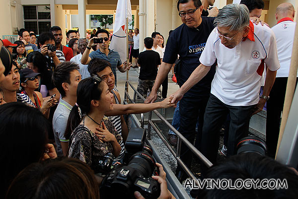Mr Chiam greeting supporters at the 2011 General Elections