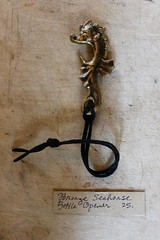 bronze seahorse bottle opener,made by metal & thread