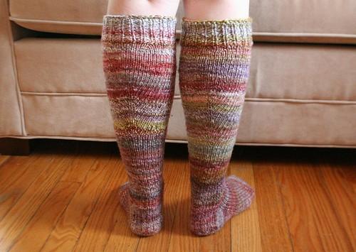 knitted :: handspun toe-up knee-high arch-shaped socks