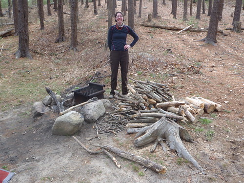 Three piles of wood, sized for appropriateness: yes, my dad is a lunatic