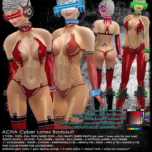 + ezura + ACHA Cyber Latex Bodysuit *Red