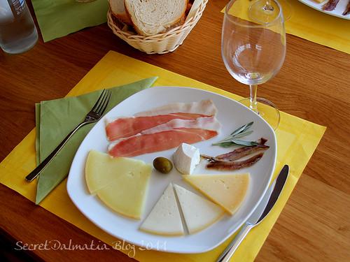 Sampling of all cheeses made at Gligora dairy
