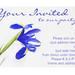 Purple iris flower party invitation design