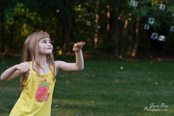 The little one chasing bubbles.