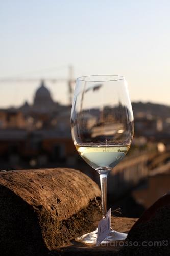 Wine overlooking St. Peter's Basilica, Vinoroma, Rome, Italy