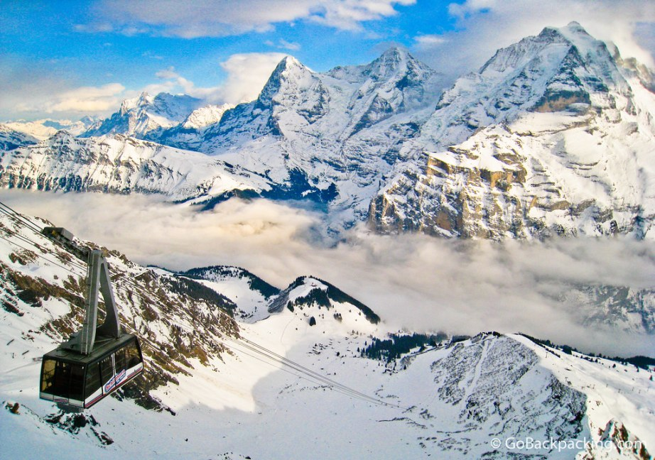 Jungfrau (4,158m), Monch (4,099m), and Eiger (3,970m) mountains
