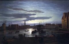 Dahl, Johan  - Copenhagen Harbour by Moonlight   - 1846