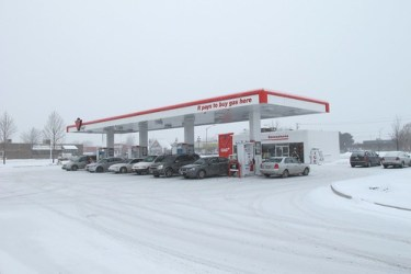 Gas Station in the winter