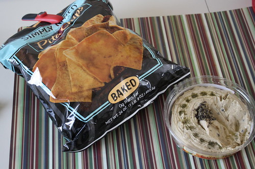 Stacy's pita chips and Sabra greek olive hummus