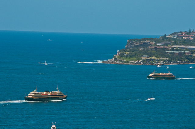 Manly Ferries crossing, near the entrance to Sydney Harbour