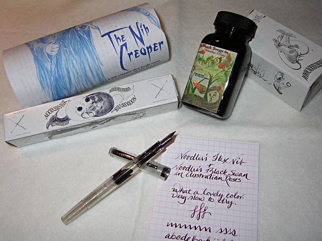 Noodler's Nib Creaper With Black Swan In Australian Roses Ink