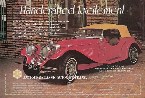Antique & Classic Automotive Jaguar SS 100 replica ad