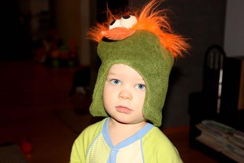 Niilo's crazy bird hat--Lassi wanted to model, too
