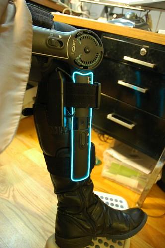 Tron-ified knee brace with EL wire