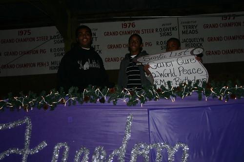Relay for Life - Christmas Parade - Khalif, Terrance, Jacal with Sign