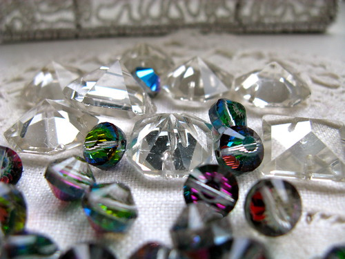 Vintage beads and chandelier crystals