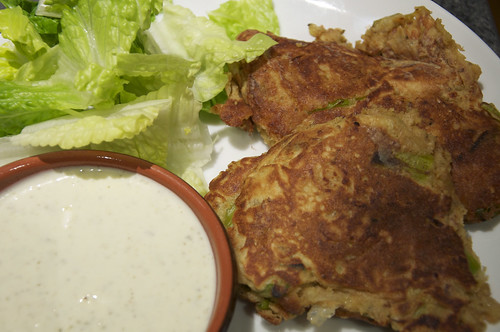 Leek Fritters served with Sauce
