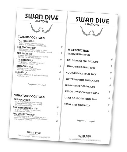 Tabletop Menu for Swan Dive Bar (Austin, Tx)