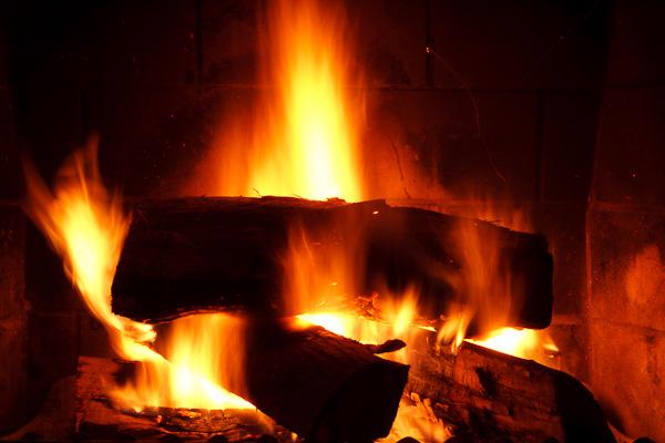 A fireplace viewed through a slow shutter speed.