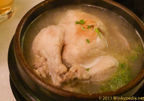 Samgyetang (chicken in hot soup with ginseng) at Arang