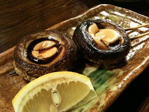 椎茸の串焼き。