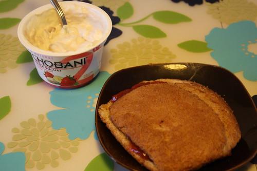 strawberry banana chobani; pb & jelly sandwich