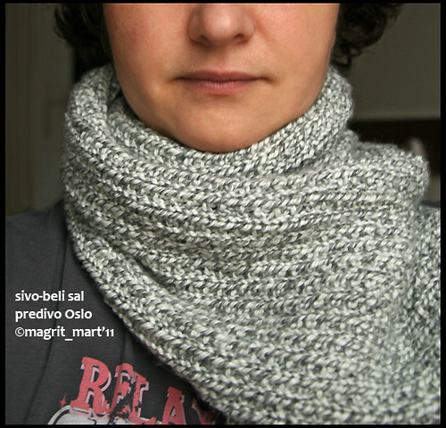 gray and white scarf