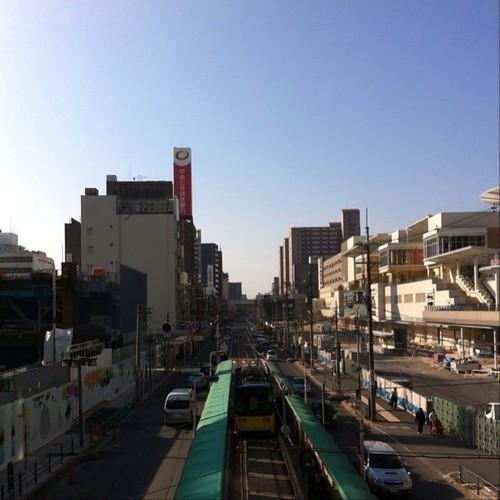 (^o^)ノ < おはよー! 今日の大阪、雲一つないお~! #Osaka #Abeno #morning #sky