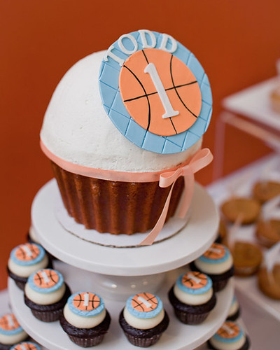 Basketball Theme Giant Cupcake with Topper