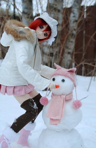Rina made a snowman