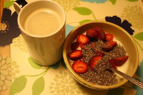 coffee, stonyfield yogurt, strawberries, chia seeds